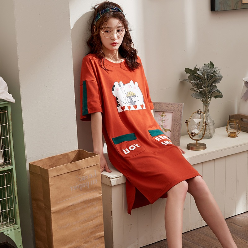 Spring Summer Short-sleeved Nightgown 6535 Cotton Mid-length Large Size Women's Sweet Cute Outer Wear Pajamas