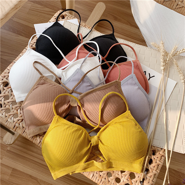Cotton Bras For Women Seamless Tube Top Back Hollow Lingerie Wire Free Intimates Bandage Sexy Bralette Underwear