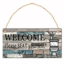 Decoración de hogar, cocina, comedor, bar, placa de madera impresa, letrero para colgar en la pared, letrero de madera vintage para baño, shabby chic