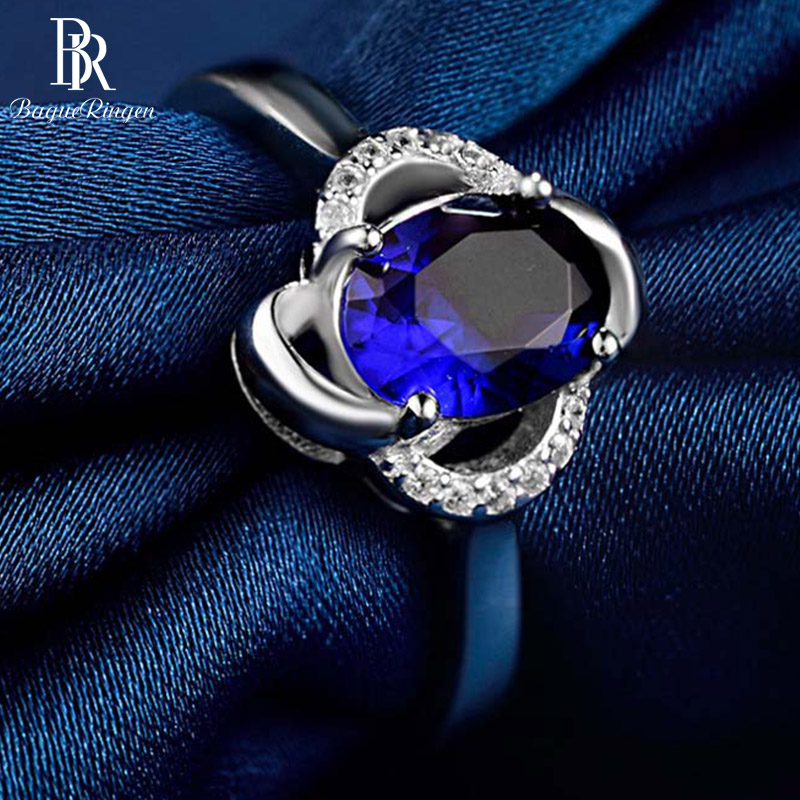 Bague Ringen Real 925 Solid Sterling Silver Blue Sapphire Gemstone Wedding Engagement Ring Fine Jewelry Women Gifts Wholesale