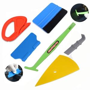 Image 1 - FOSHIO 자동차 용품 탄소 섬유 스크레이퍼 도구 키트 비닐 포장 자동차 자석 스틱 스퀴지 필름 스티커 커터 포장 도구