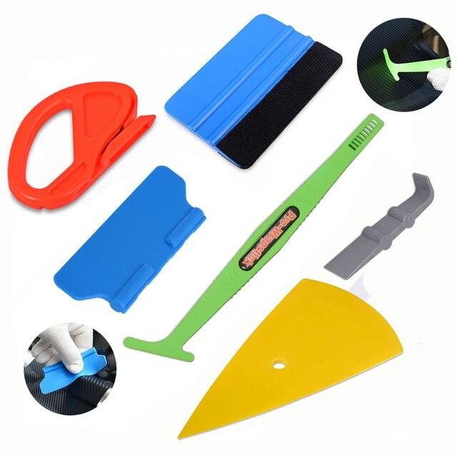 Foshio Auto Accessoires Koolstofvezel Schraper Gereedschap Kit Vinyl Wrap Auto Magnetische Stok Zuigmond Film Sticker Cutter Wikkelen Gereedschappen