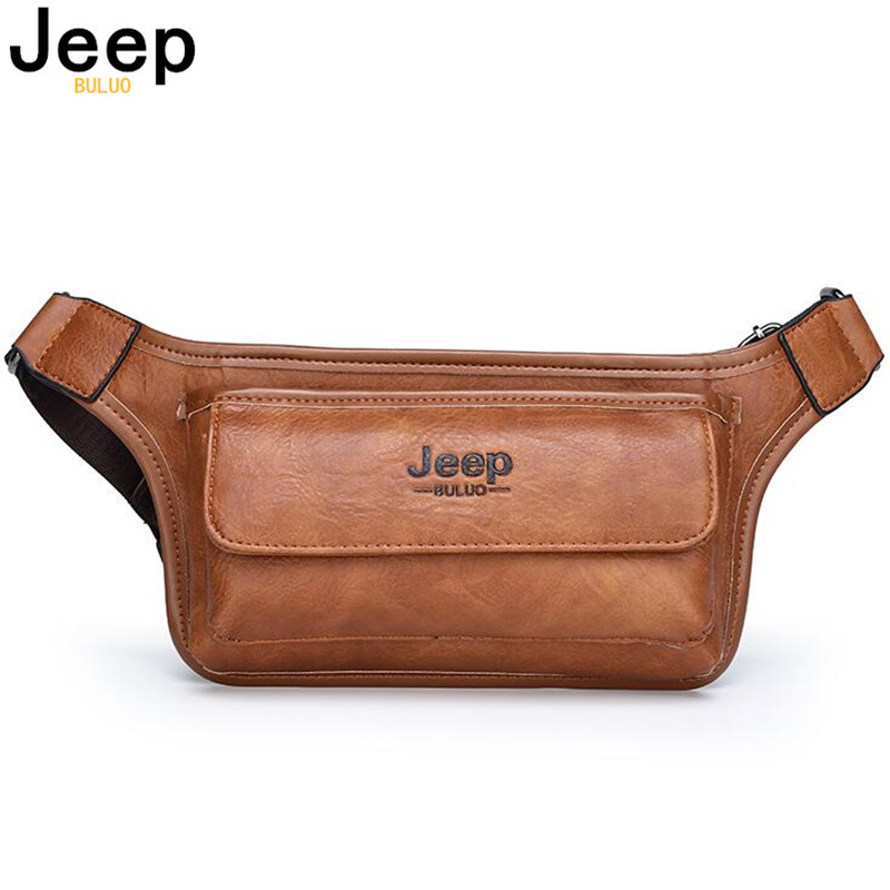 JEEP BULUO Male Women Sling Bag For Belt Leather Hip Bag Chest Pouch Men Waist Bag Pack Casual Functional Money Phone Belt Bag
