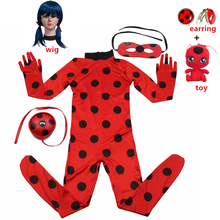 Hot Child Size Costume for Girls - Red Dress Up Jumpsuit Halloween christmas Party Marinette Little Beetle Suit for Cosplay
