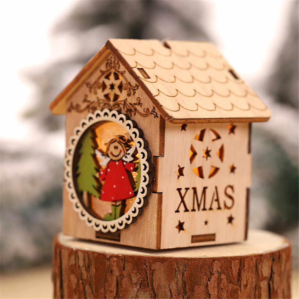2019 Nova Luz LED Casa De Madeira Bonito Da Árvore de Natal Ornamento de Suspensão da Decoração Do Feriado
