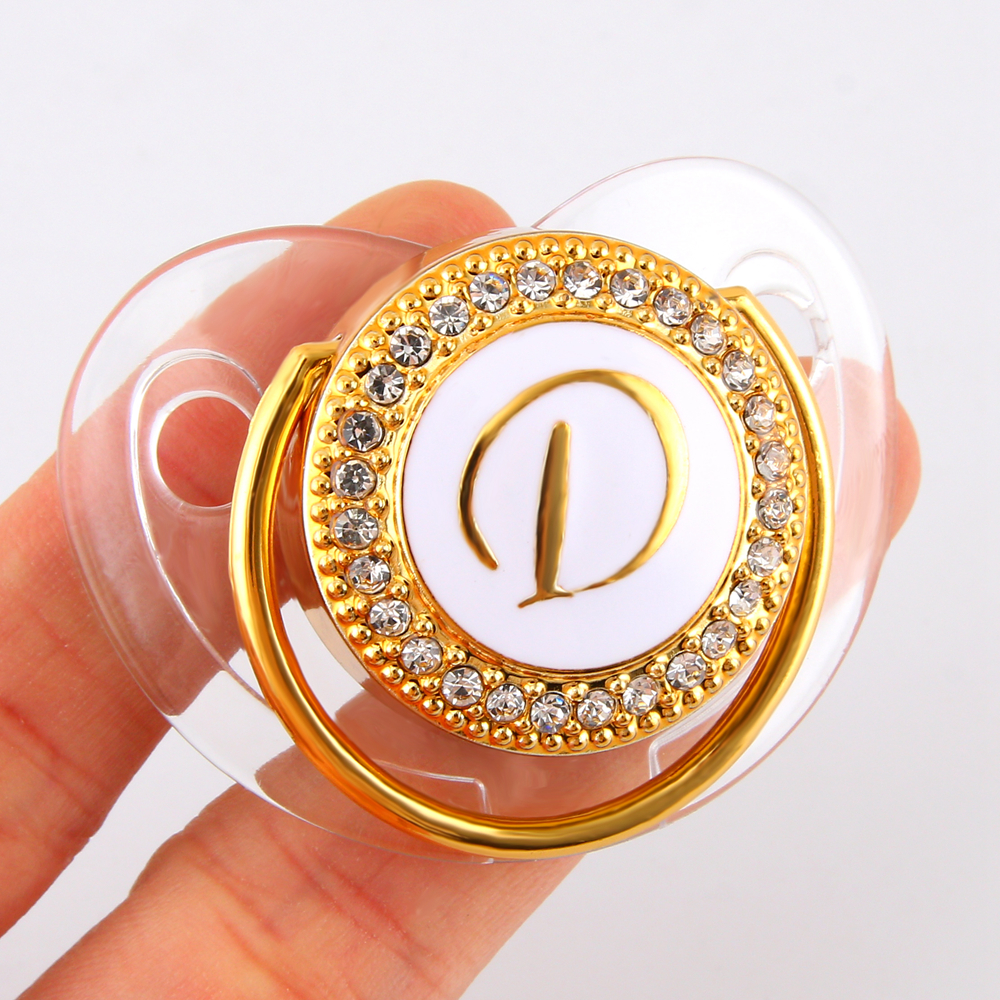 Transparent Baby Pacifier Luxury Initials Letter D Bling Bling Pacifier Rhinestone Twinkling BPA Free Dummy