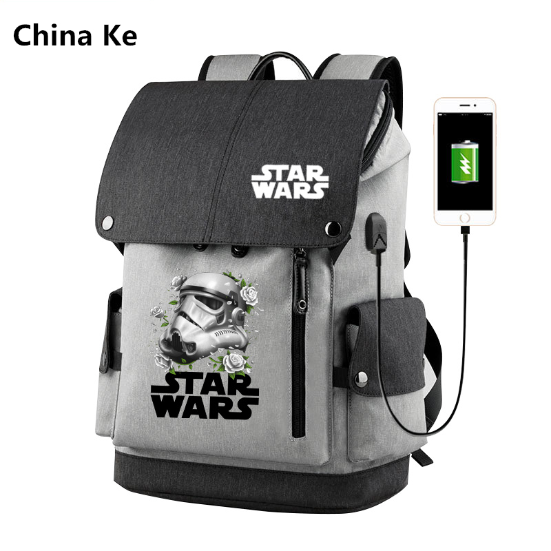 Anime Star Wars Hero USB Port Backpack School Book Laptop Black Zipper Men Women Boys Bag