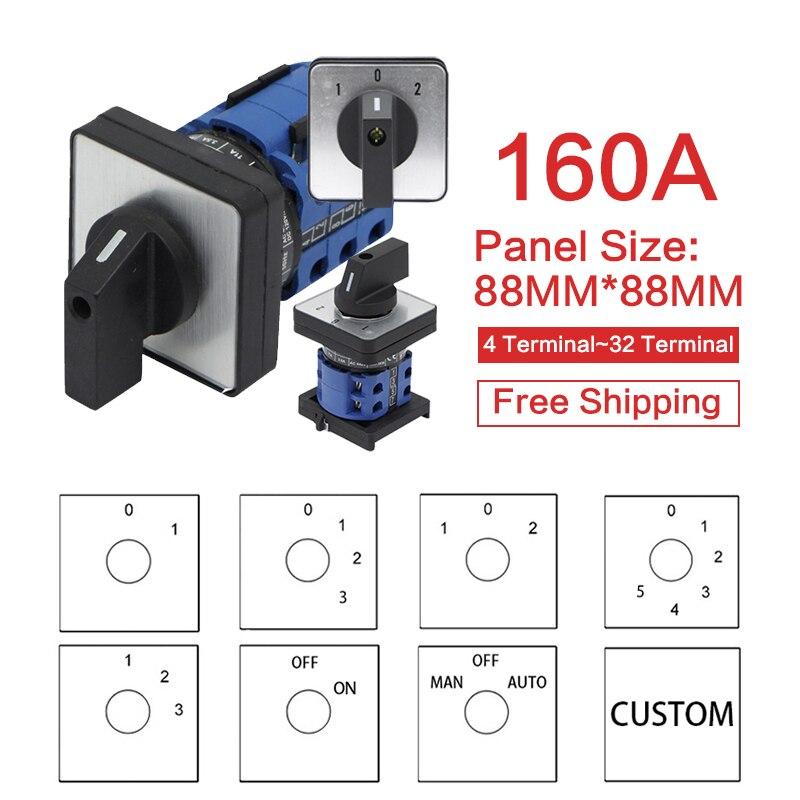 YMW26-160 przełącznik kamery ON-OFF 2/3/4/5/6/7/8 pozycje 160A DIY obrotowy przełącznik 4/8/32/48 zaciski śruby srebrny kontakt LW28