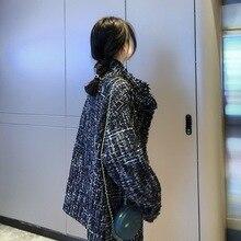 2019 Autumn Coat Tweed Thin Hair Tweed Coat French Style Medium and Long Style Windbreaker Single Breasted Plaid Coat Women drop shoulder plaid tweed plus size coat