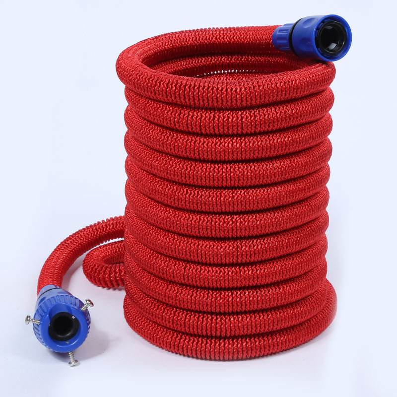 50FT Wear Compression Garden Hose Natural Latex Household Vehicle Cleaning Europe And America Spray Gun 3 Times Telescopic Pipe