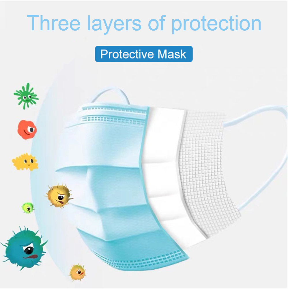 Free DHL shipping 10000pcs Disposable Face Mouth Mask Anti Virus Flu Safety Mask Protection Face Mouth Surgical Masks