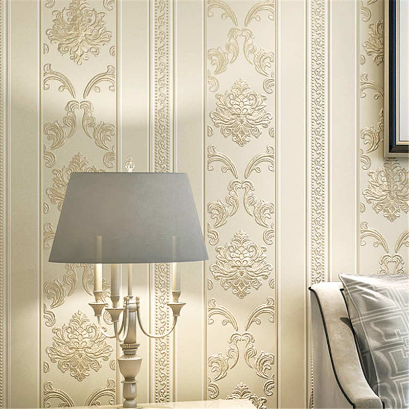 Beibehang European Vertical Stripes Non-woven Wallpaper Modern Minimalist Bedroom Living Room 3D Relief Wallpaper