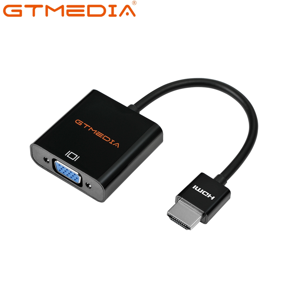 GTMEDIA HDMI Cables 3.5mm Audio Cable HDMI To VGA Adapter 1080P HD For Pojector Displayer Computer Speaker Desktop Earphone