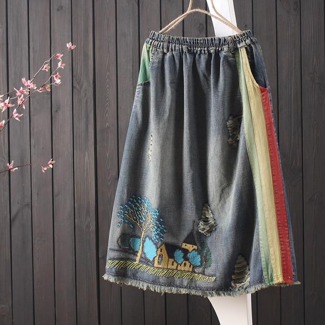 $ US $23.22 2019 denim skirt female elastic waist retro patch embroidery skirt