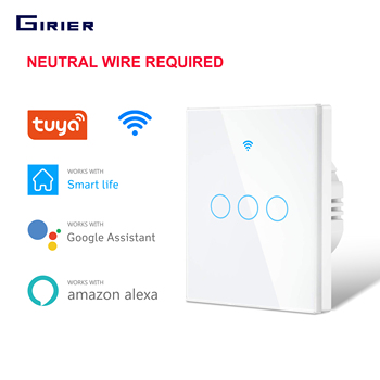 Smart Touch Switch  Wifi Light Switch  EU 1 2 3 Gang  RF Tuya App Voice Wireless Remote Control Works with Alexa Google Home us standard 1 2 3 4 gang smart wifi light switch app remote control smart home wireless wall touch switch