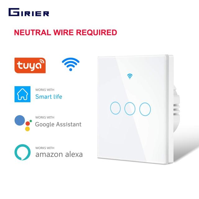 Smart Touch Switch  Wifi Light Switch  EU 1 2 3 Gang  RF Tuya App Voice Wireless Remote Control Works with Alexa Google Home