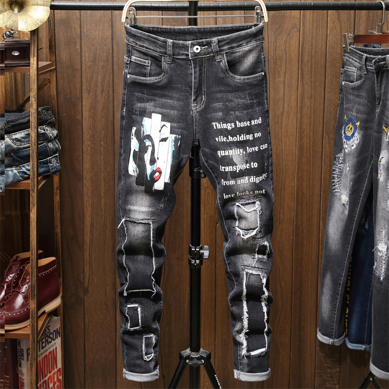 Cross Border Specifically For Foreign Trade Autumn And Winter Printed Black Elasticity MEN'S Jeans Fashion And Personality Appli