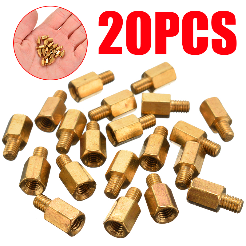 Mayitr 20Pcs Single Head M3 Brass Standoff Hexagonal Spacer 6+4mm O4L0 For PC PCB Motherboard Mother Board Mounting