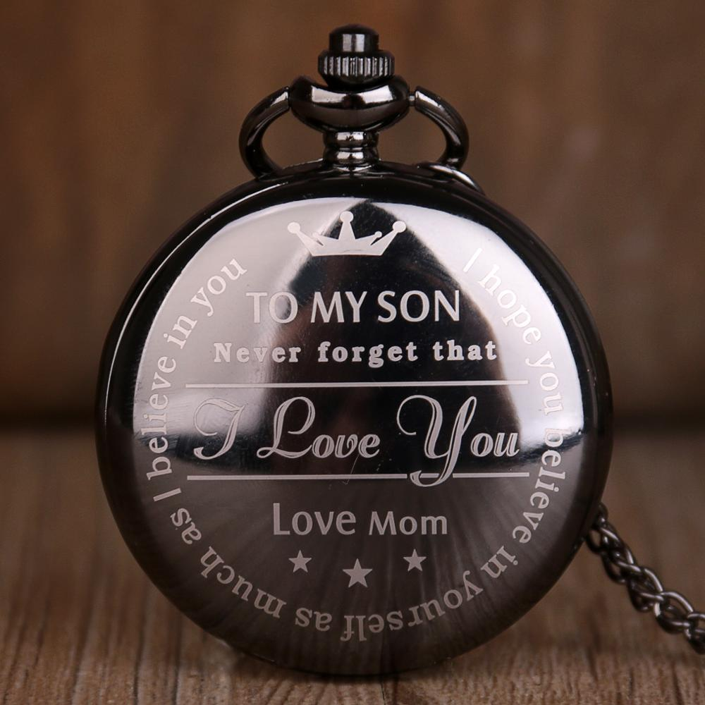 New Arrival TO MY SON Pocket Watch Pattern Steampunk Retro Vintage Quartz Pocket Watch Roman Numerals Pocket Watch Boys Gift