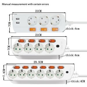 Image 5 - 6AC Output Electronic Socket EU power adaptor Plug Extension Smart Socket  1.5M 2.5M 16A 3500W Separate control switch socket