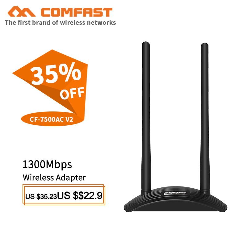7500AC V2 1300Mbps 2.4GHz 5.8GHz Dual Band USB Wireless Networking Adapter