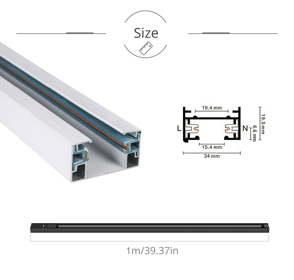 Track Rail 1m Track Light Fitting Aluminum 1 meter 2 wire Connector System Tracks Fixture black white Universal Rails 10pcslot (8)