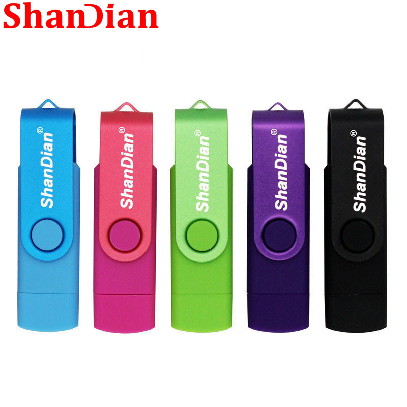 SHANDIAN Free Delivery Pen Drive OTG High Speed Drive 4g/16g/32g/64G USB 2.0 External Storage Double Application Creative Gift