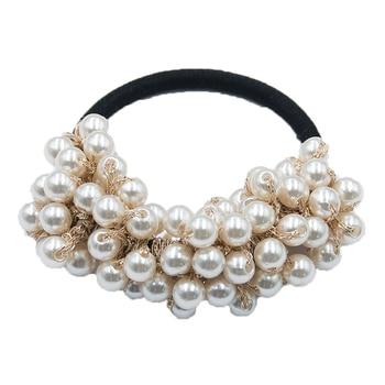 14 Colors Woman Elegant Pearl Hair Ties Beads Girls Scrunchies Rubber Bands Ponytail Holders Hair Accessories Elastic Hair Band 38