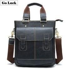 GO-LUCK Brand Genuine Leather Business Top-handle Handbag To