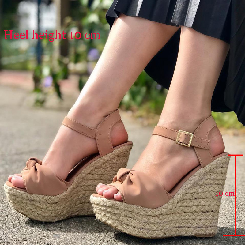Open Toe Platform Wedge high Heel Sandals New Large Size Womens Shoes Straw Womens Sandals Wedges Hollow Sandals