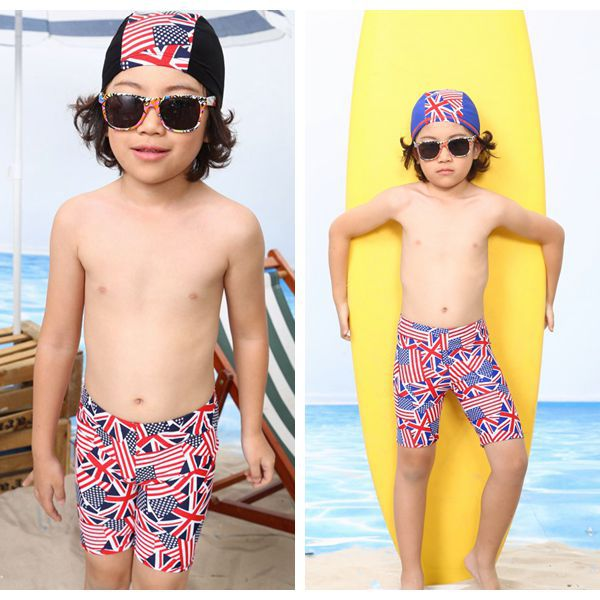 New Style CHILDREN'S Swimming Trunks BOY'S Swimsuit Children Short Swimming Trunks + Swim Cap Two-Piece Set 4-10-Year-Old 5186
