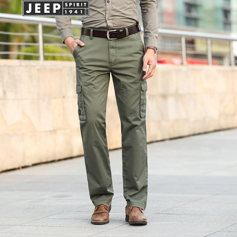 Jeep/Jeep New Products Spring And Autumn MEN'S Casual Pants Straight-Cut Medium Waist Loose And Plus-sized Men's Trousers Multi-