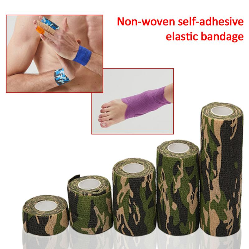 2.5CM X 4.5M Camouflage Elastic Wrap Tape Travel Camping Self Adhesive Medical Bandage Sports Protector Knee Finger Ankle Athlet