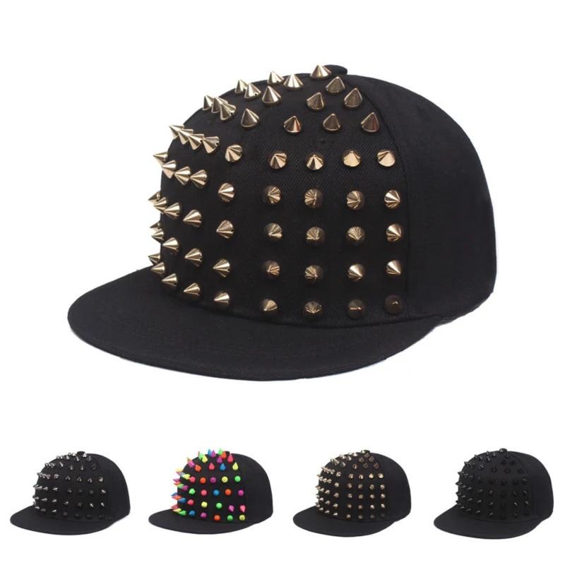 Spike Studded Rivet Snapback Punk Hedgehog Hat Unisex Personality Baseball Cap