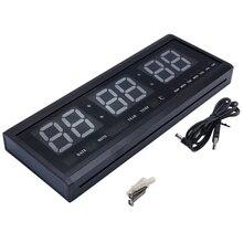 48 см цифровые настенные часы большой светодиодный календарь времени температура настольные часы светодиодный настенные часы с европейской вилкой