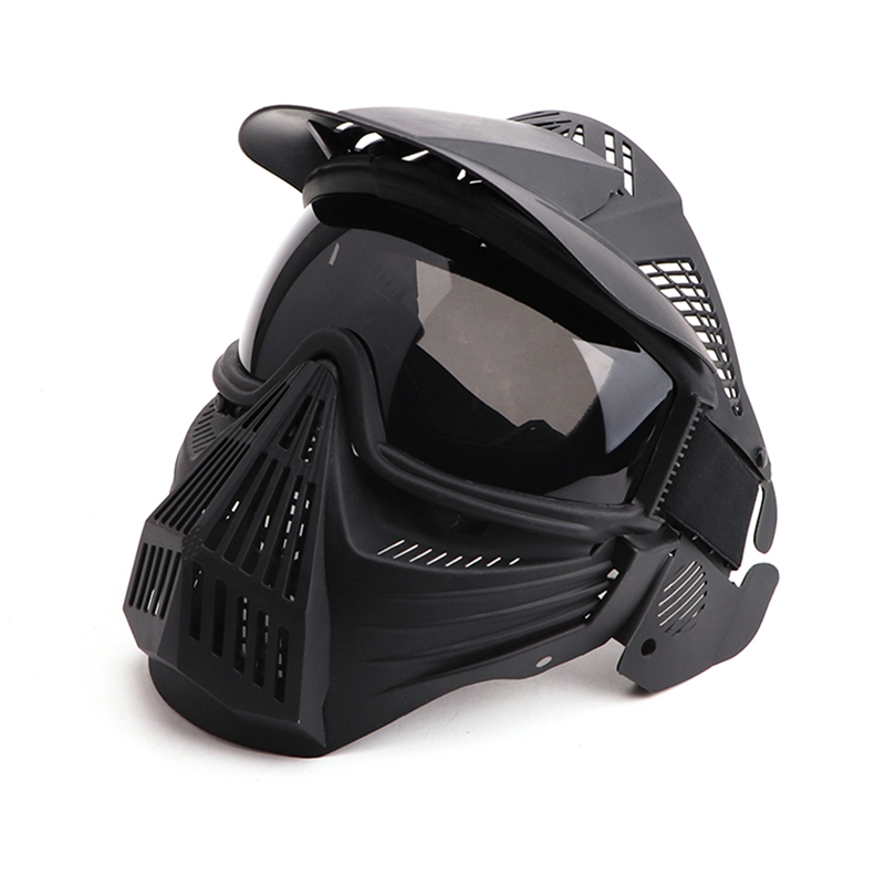 Gray Lens Mask Adjustable Full Face Mask Protection Mask Tactical Mask Biking Mask for CS Survival Game BBS Shooting Movie Prop image