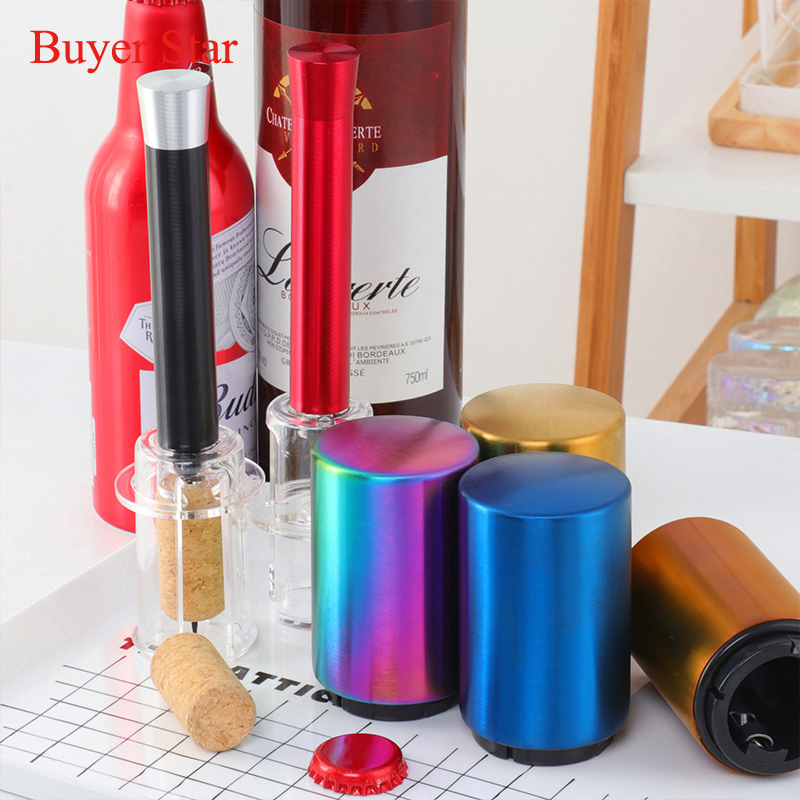 Stainless Steel Bottle Opener Automatic Push Down Wine Beer Cap Opening Tool