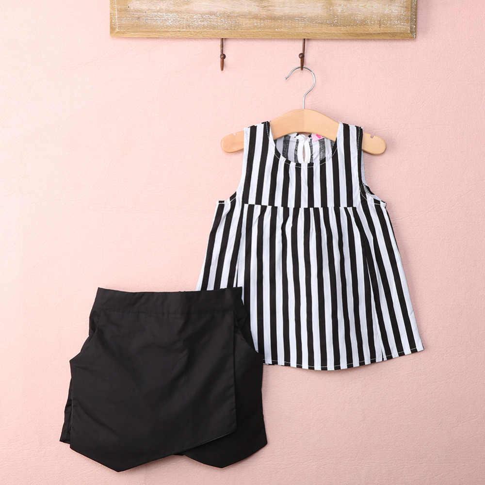 Conjunto de ropa para niñas pequeñas, informal, a rayas, sin mangas, para niños pequeños, blusas verticales, blusa, pantalones negros, 2 uds, conjuntos 2 ~ 7Y