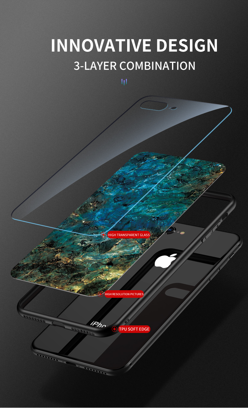 KEYSION Marble Tempered Glass Case for iPhone 11/11 Pro/11 Pro Max 5