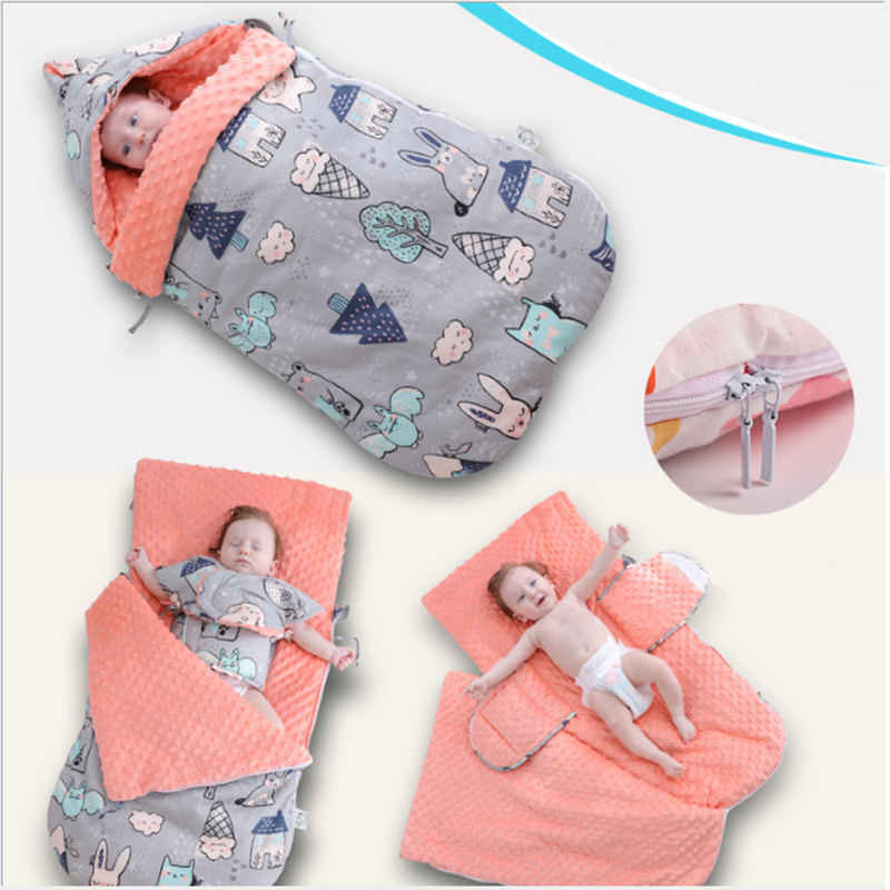 Baby Sleeping Bag Toddler Stroller Envelopes Sleeping Bag Cartoon Animal Cotton Swaddle Wrap For Newborn Kids Baby Sleep Sack