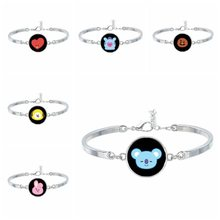 Kpop bts-bangtan boys BT21 Personalized Cute Cartoon Bracelet and Bangle For Woman Men Bangtan Jewelry Accessories Party Gifts(China)