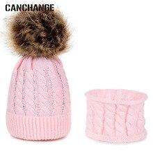 Модный комплект одежды из 2 шт./компл. зимняя шапка и шарф, набор вязаный однотонный Цвет, шапка с помпоном, осень-зима теплый костюм для мальчиков и девочек, Кепки 0-3 лет
