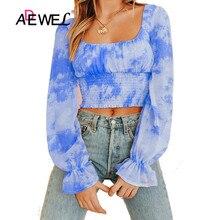 ADEWEL New Women Long Lantern sleeve Tops Print Off Shoulder Ruffle Beach Crop Top Summer Loose Beach Cover Up Short Tshirt недорого