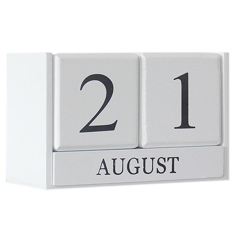 Vintage Wooden Perpetual Desk Calendar Block Planner Permanent Desktop Organizer Diy Agenda Table Decoration-White