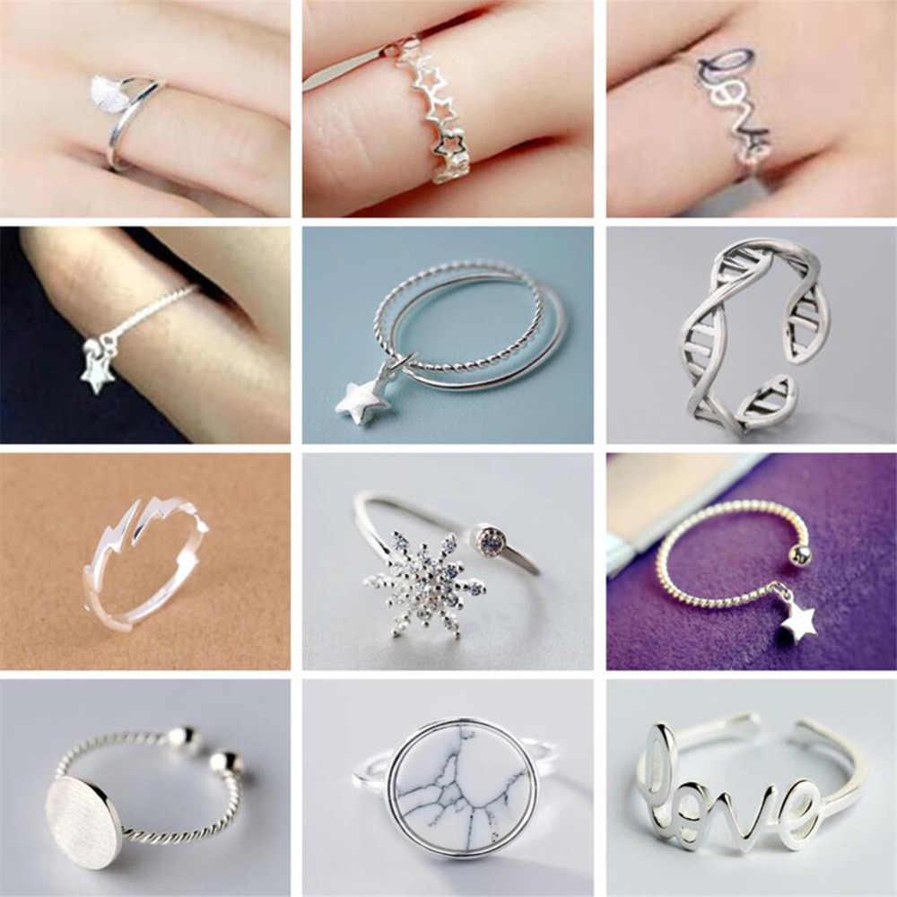 Трендовые круглые кольца стрелы в форме звезды любви, женские подарки на день рождения, снежинка, кошка, рыбий хвост, собачья лапа, Незамкнутое серебряное кольцо, рождественские украшения