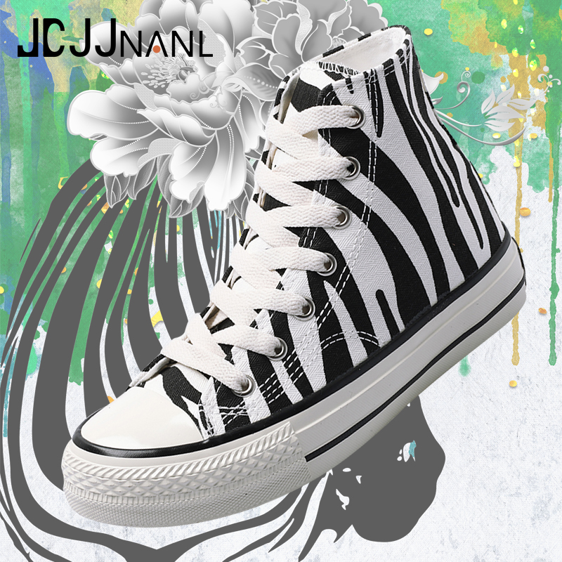 Zebra color breathable high top sneakers women canvas shoes loafers lace-up vulcanization shoes for lady zapatillas mujer 2020