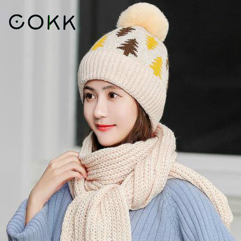 COKK Winter Hat And Scarf Woman Collars Sets For Women Thick Warm Wool Knitted Hat With Scarf Ear Protection Thicken Velvet Hat
