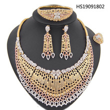 Yulaili Fashion Womens Austrian Crystal Hot Big Necklace Bracelet Pendant Earrings for Party Wedding Gift Dubai Jewelry Sets