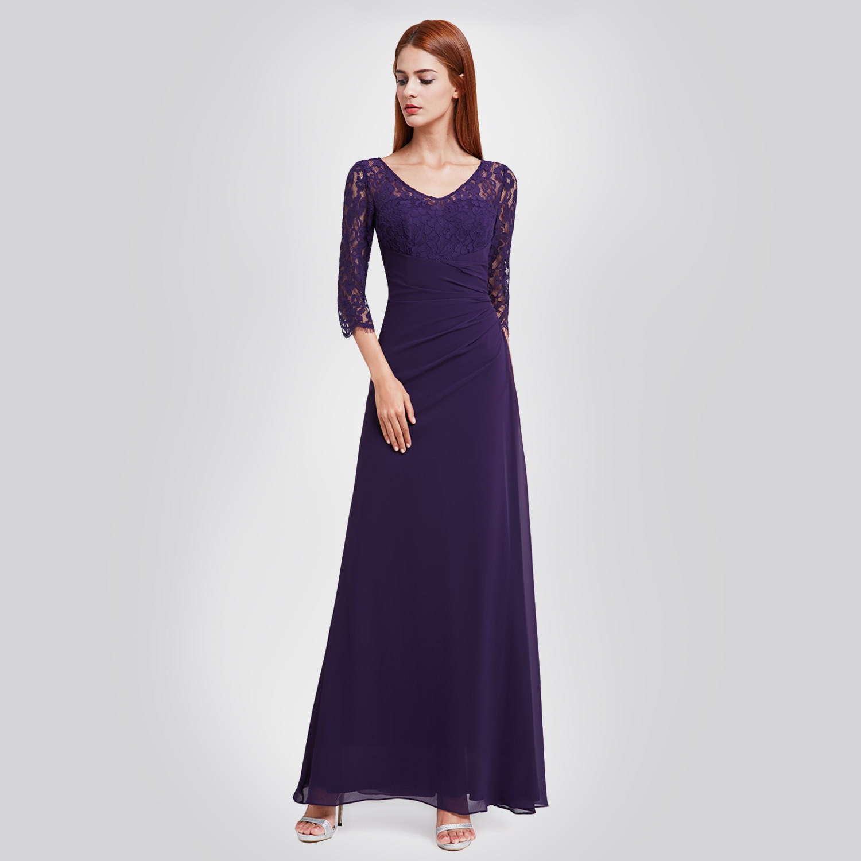 It's Yiiya Evening Dress Lace Three Quarter Sleeve A-Line Robe De Soiree V-Neck Floor-Length Illusion Dress Woman Party C426