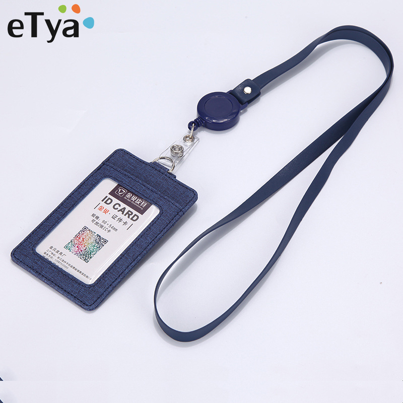 Fashion Leather Card Holder Wallet Case Badge Retractable Bank Business Credit Card Holder Bus ID Card Holder Protect Cover Bag
